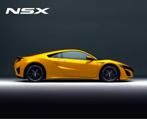 Side view of Yellow Acura NSX