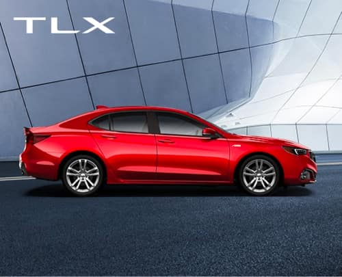 Side View of Red Acura TLX in front of brick wall