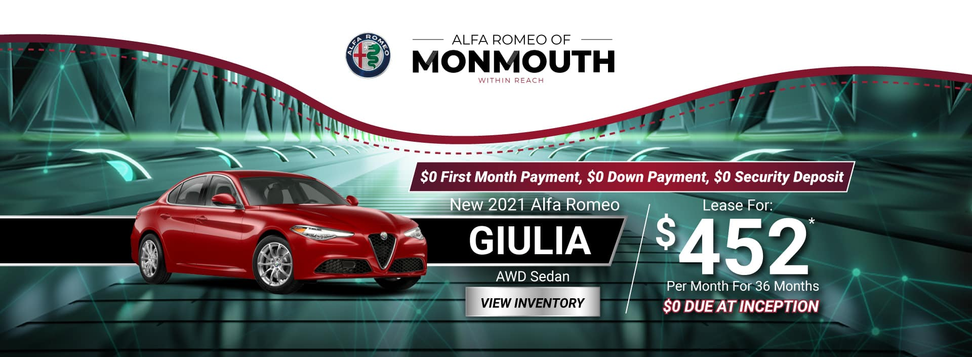 New 2021 Alfa Romeo Giulia AWD Sedan Lease for $452* Per Month for 36 months