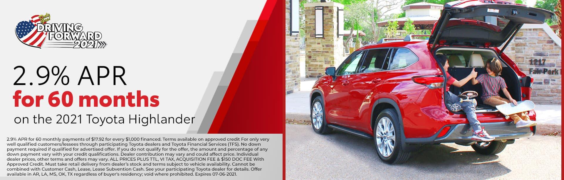 2.9% APR | 2021 Toyota Highlander | Bert Ogden Toyota in Harlingen, Texas