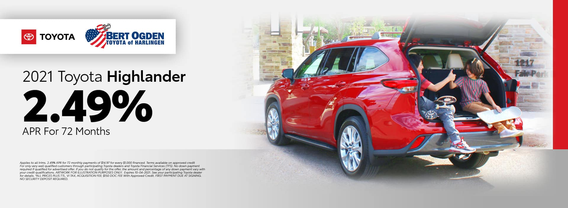 2021 Toyota Highlander APR Offer | Bert Ogden Toyota in Harlingen, Texas