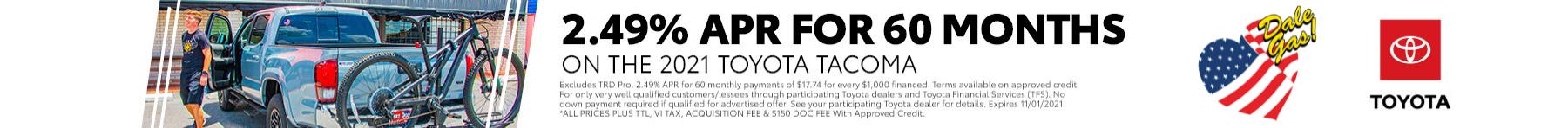 2.49% APR on the 2021 Toyota Tacoma   Bert Ogden Toyota in Harlingen, Texas