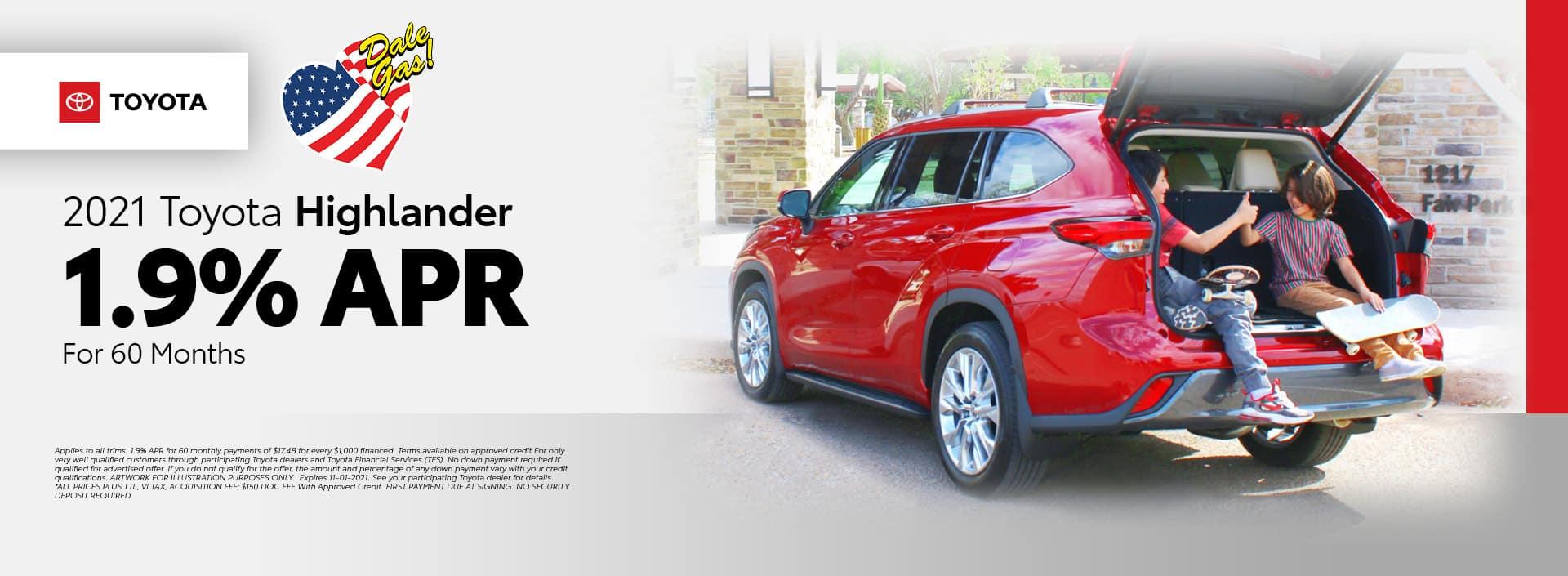 2021 Toyota Highlander Offer - October 2021