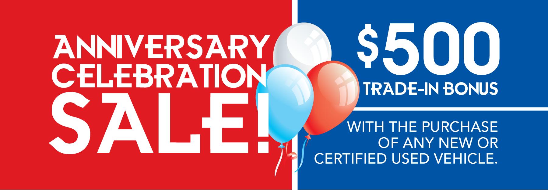 Anniversary Sale! $500 Trade-in Bonus!
