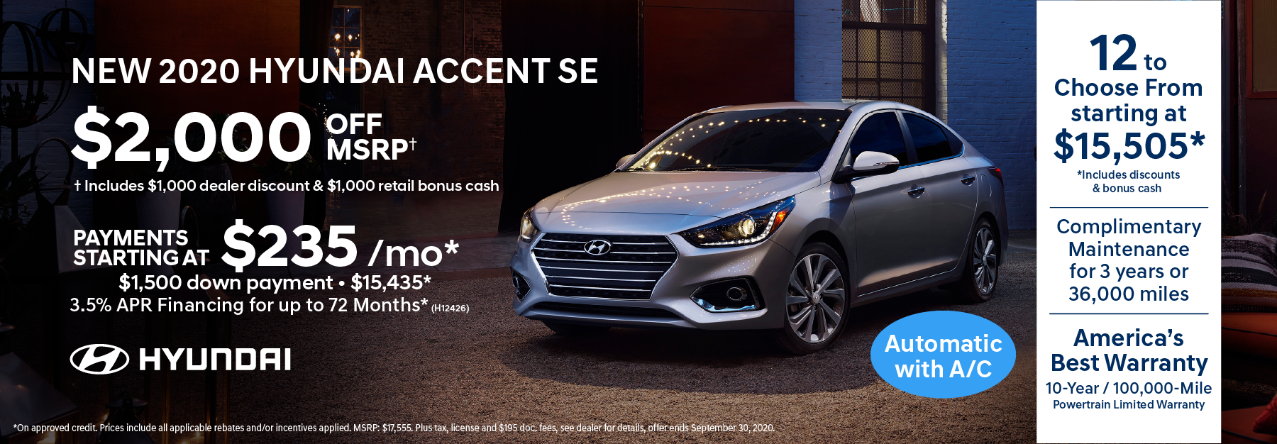 2020 Accent $2,000 off msrp
