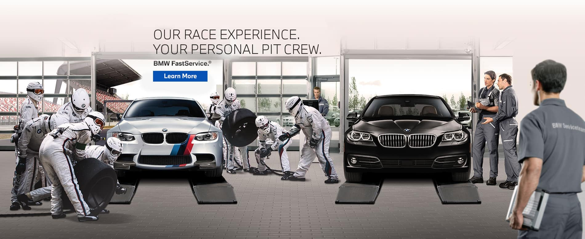 Crew members working on two BMW cars. BMW fast service, click to learn more.