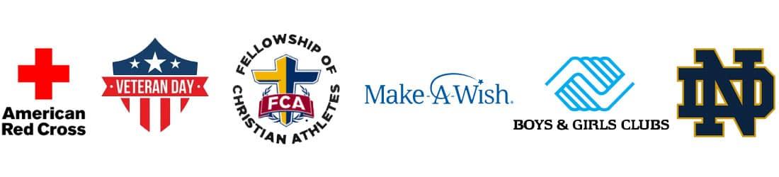 Logos of charities, organizations, and non-profits.