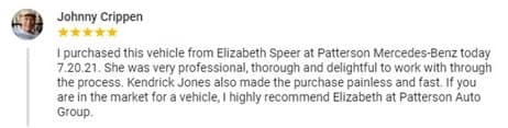 A review left by a customer expressing gratitude to the dealer.