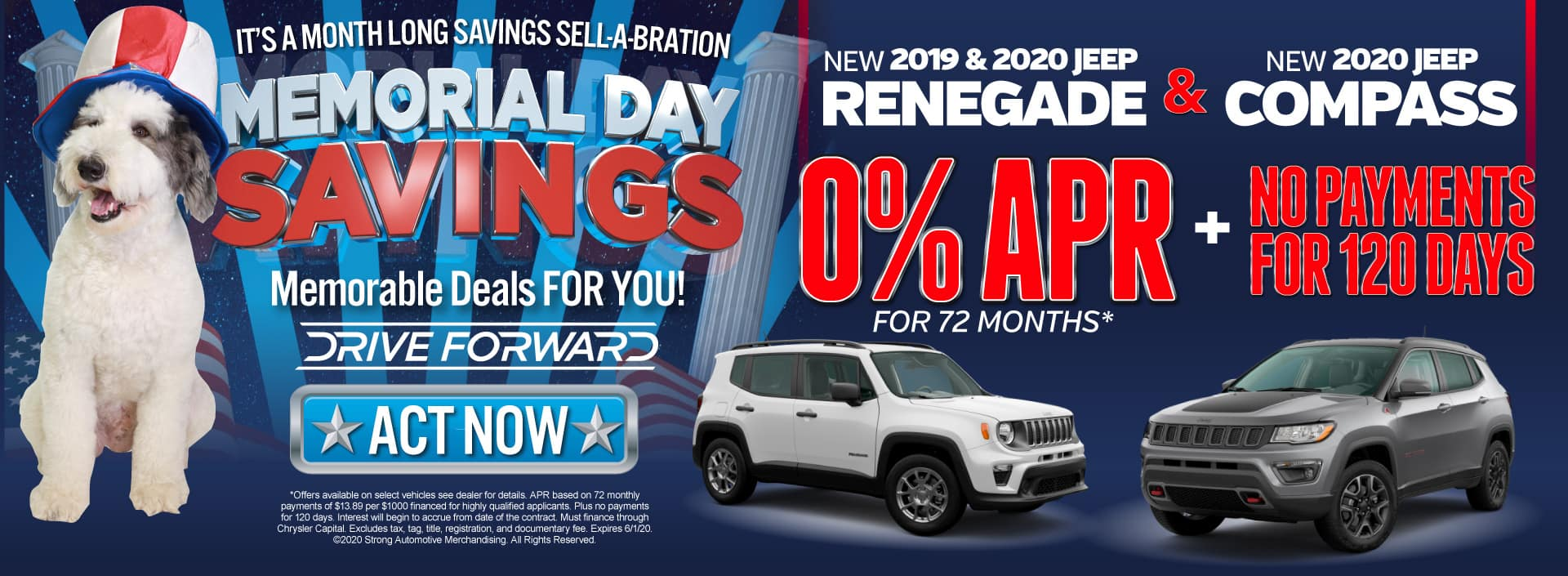 New 2019 and 2020 Jeep Renegade and 2020 Jeep Compass - Now with 0% APR for 84 months and No Payments for 120 Days