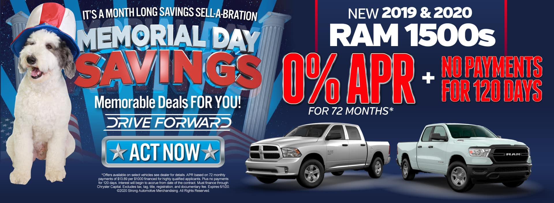 New 2019 and 2020 Ram 1500 Now With 0% APR for 72 months and No Payments for 120 Days