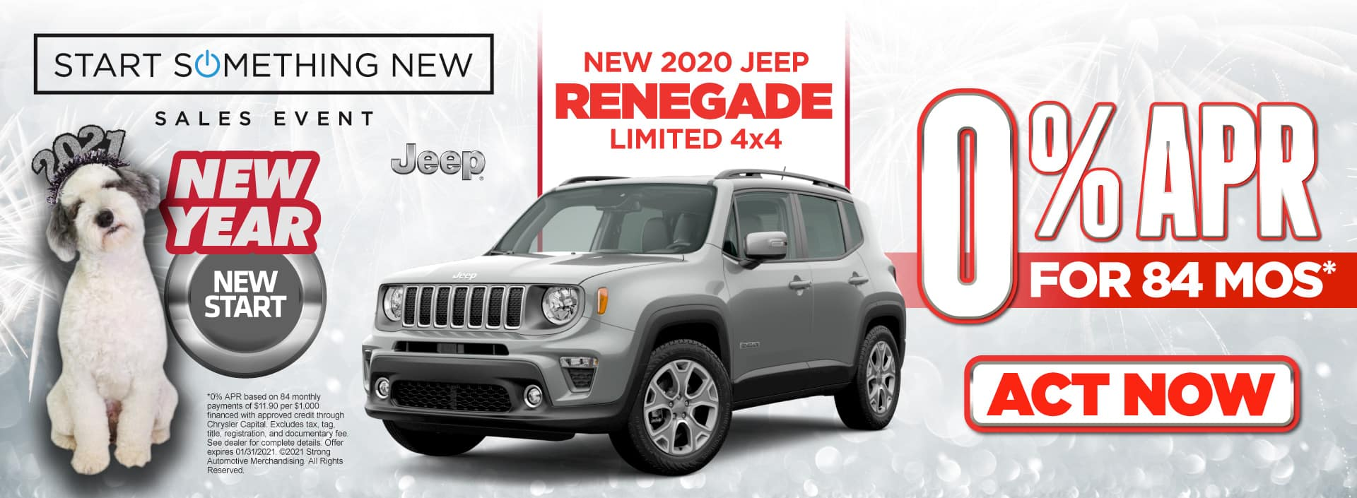 New 2020 Jeep Renegade - 0% APR for 84 months - Act now