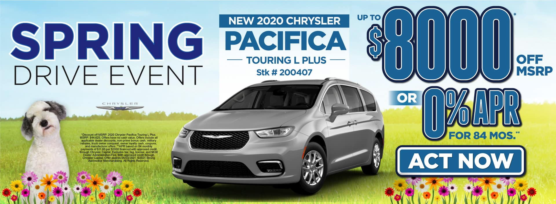 New 2020 Chrysler Pacifica - $8000 off msrp - Act Now