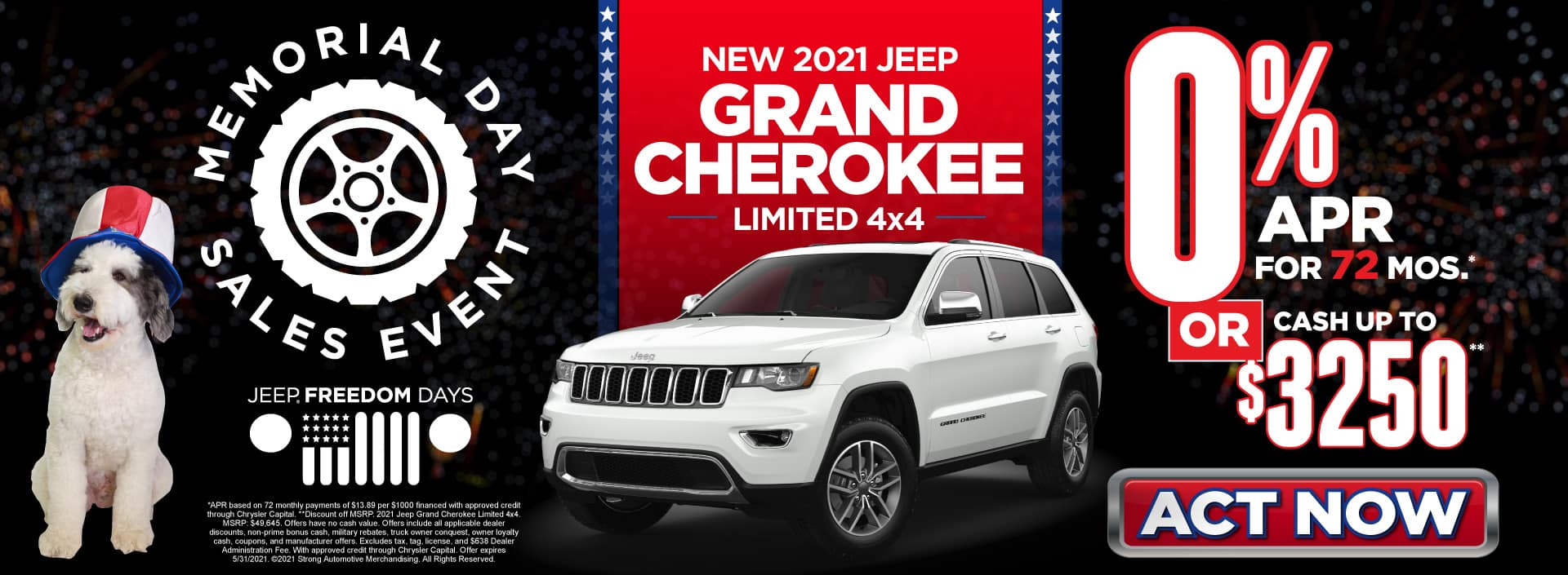 New 2021 Jeep Grand Cherokee - 0% APR for 72 months - Act Now