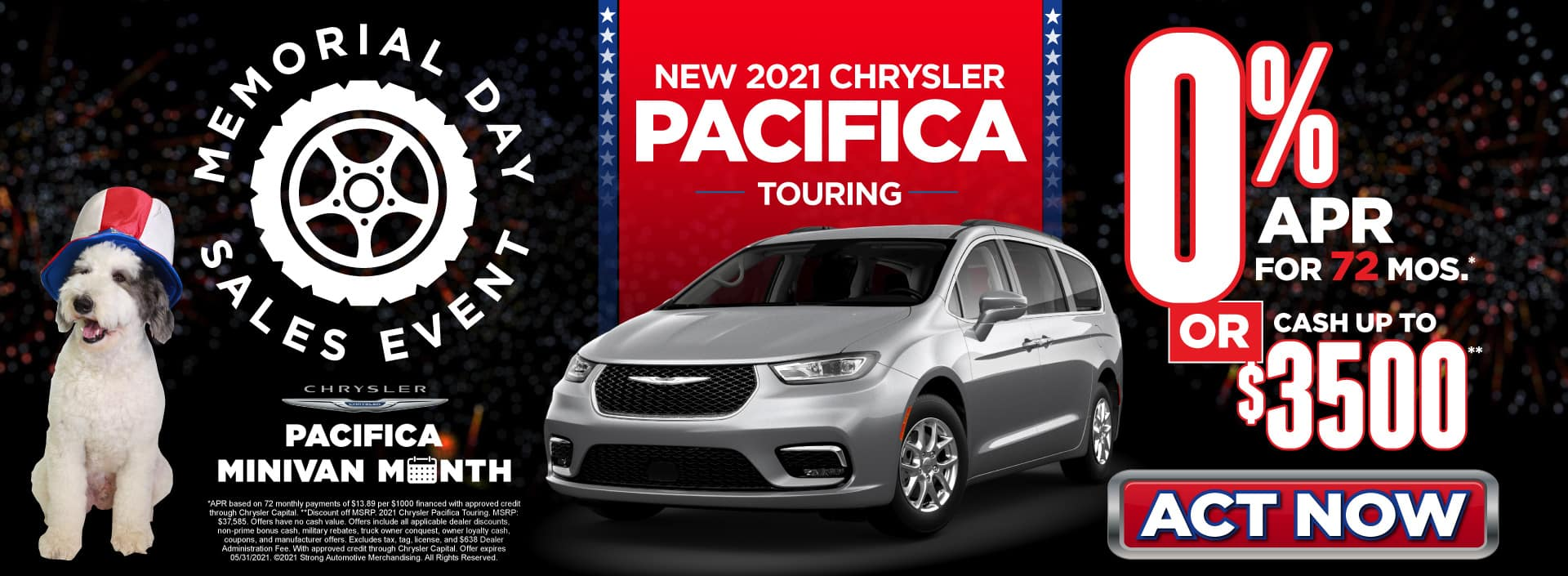 New 2021 Chrysler Pacifica - 0% APR for 72 months - Act Now