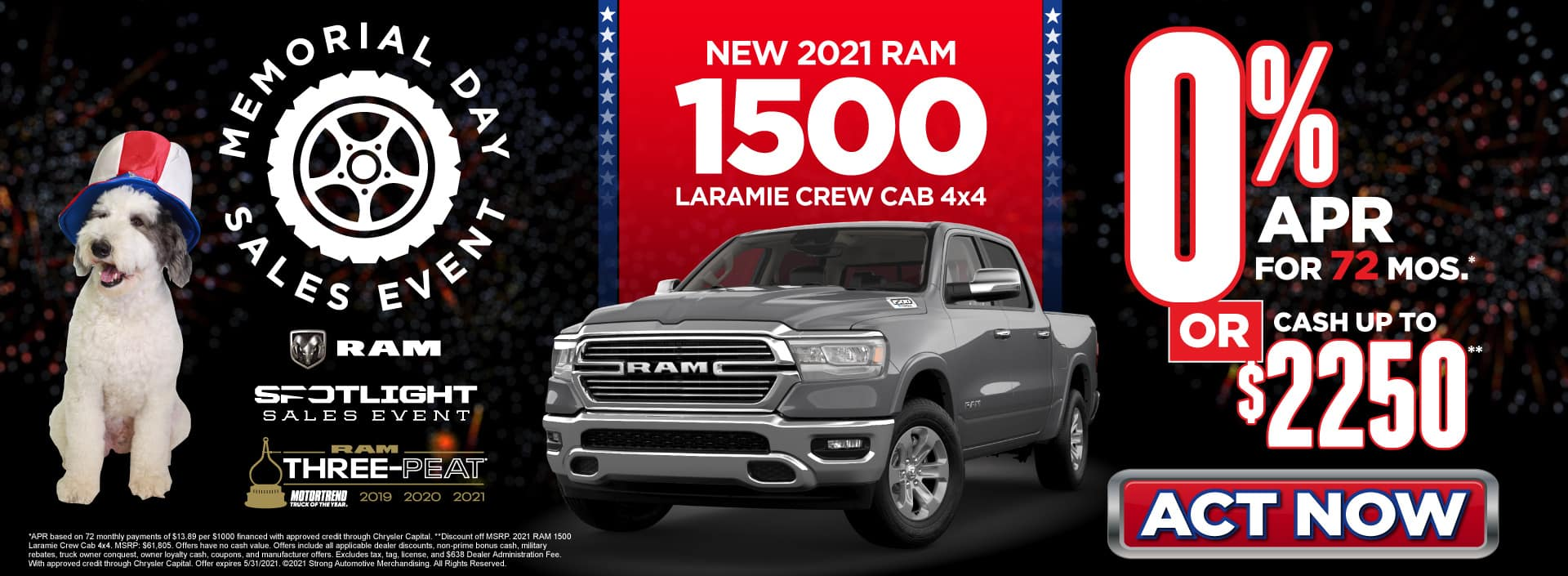 New 2021 Ram 1500 - 0% APR for 72 months - Act Now