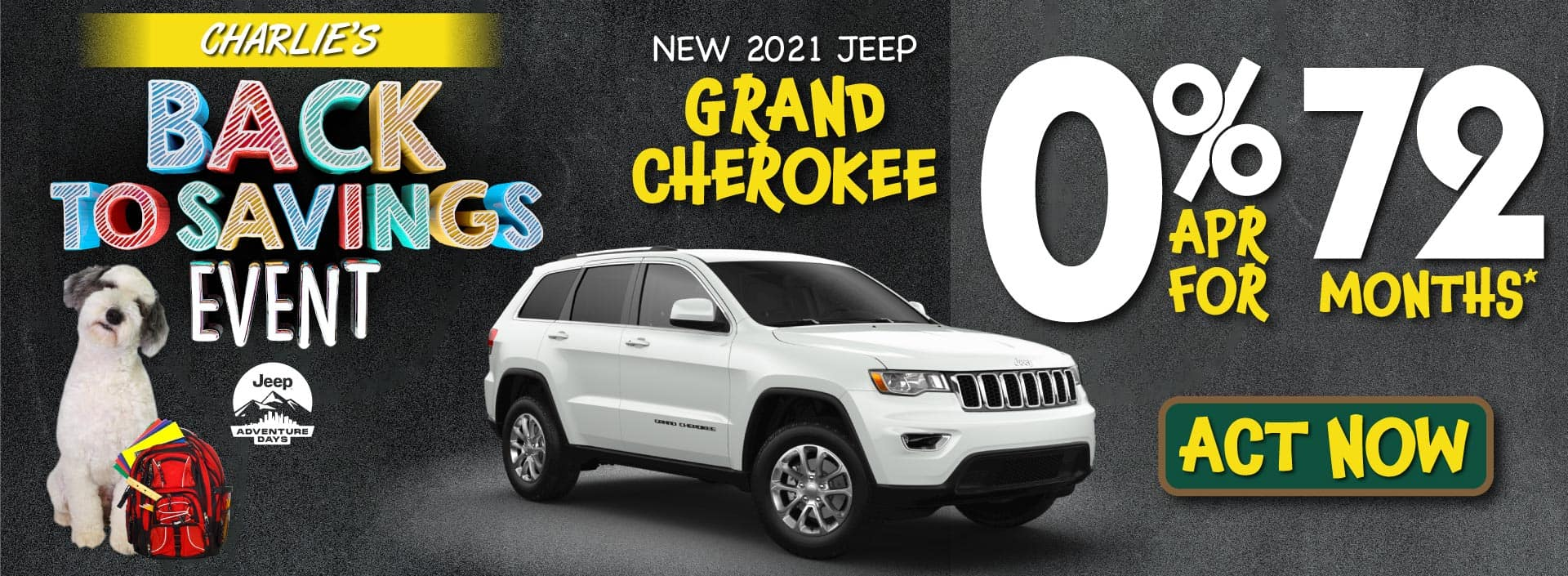 New 2021 Grand Cherokee - 0% APR for 72 months* - ACT NOW