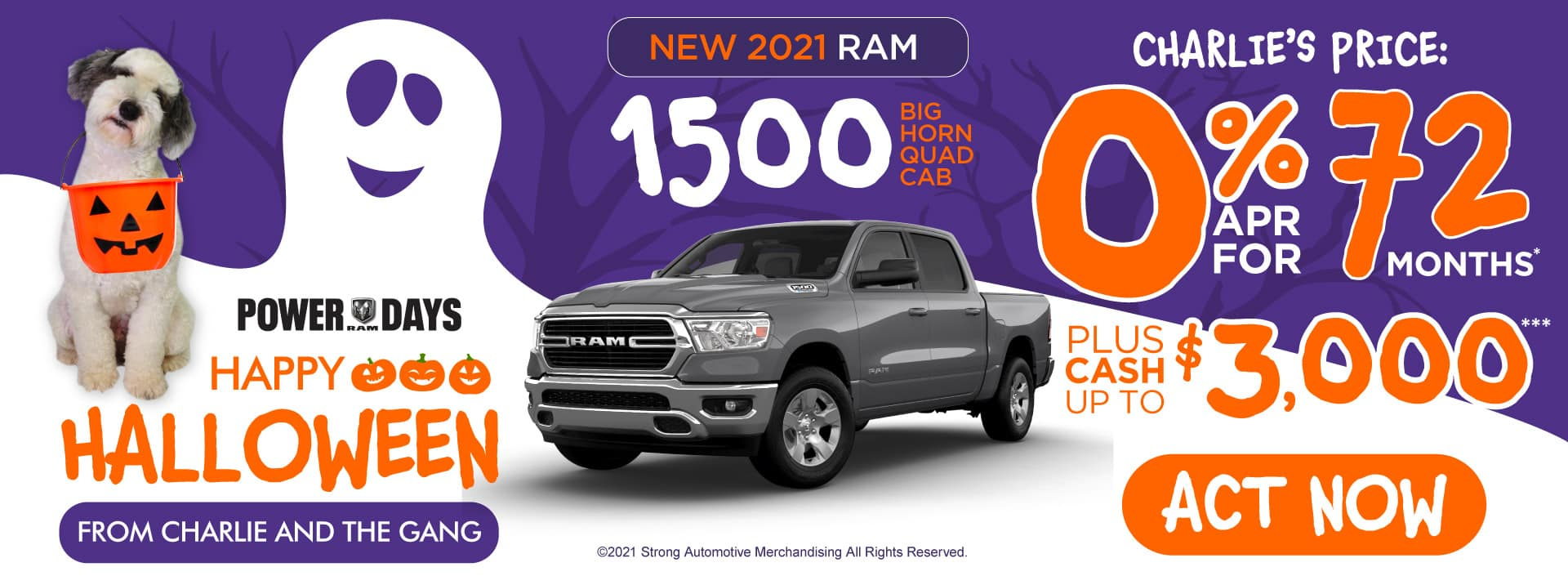 New 2021 RAM 1500 Big Horn Quad Cab - 0% APR for 72 months - ACT NOW