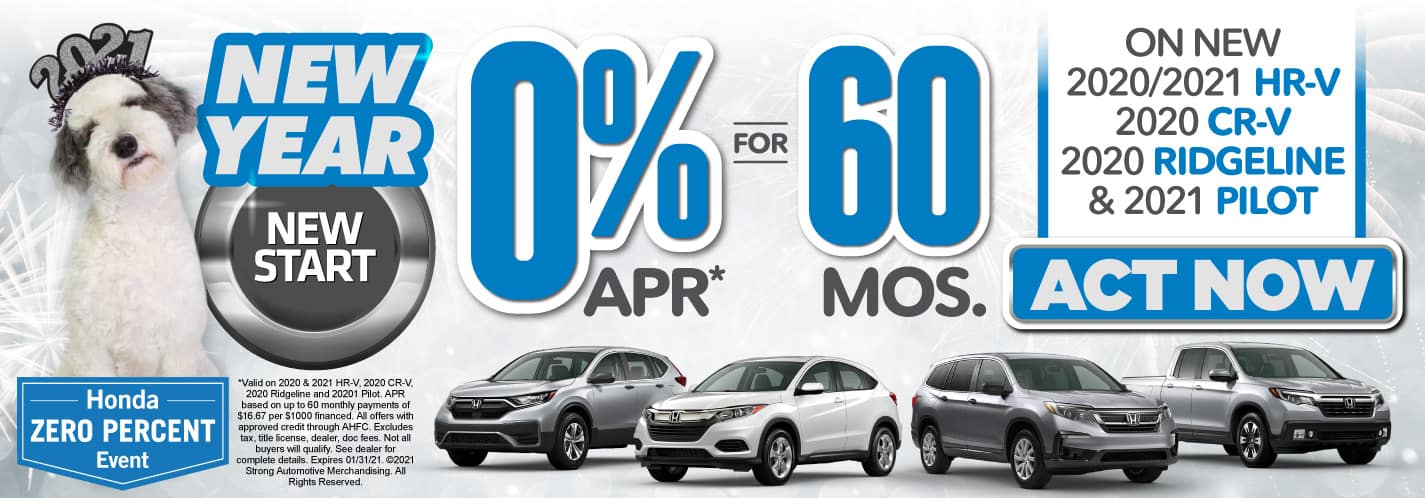 0% APR for 60 Months on Select New Hondas - ACT NOW