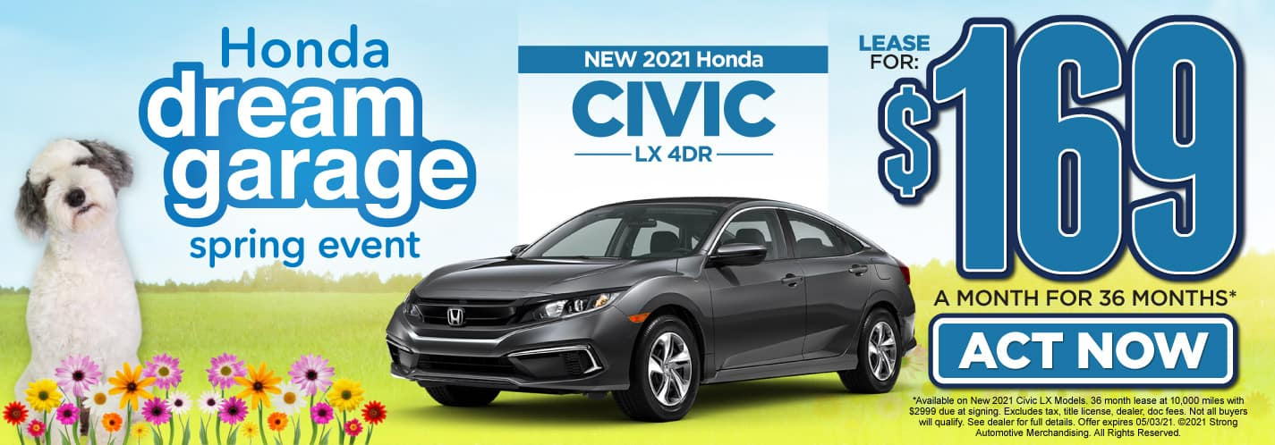 New 2021 Honda Civic lease for $169 a month   Act Now