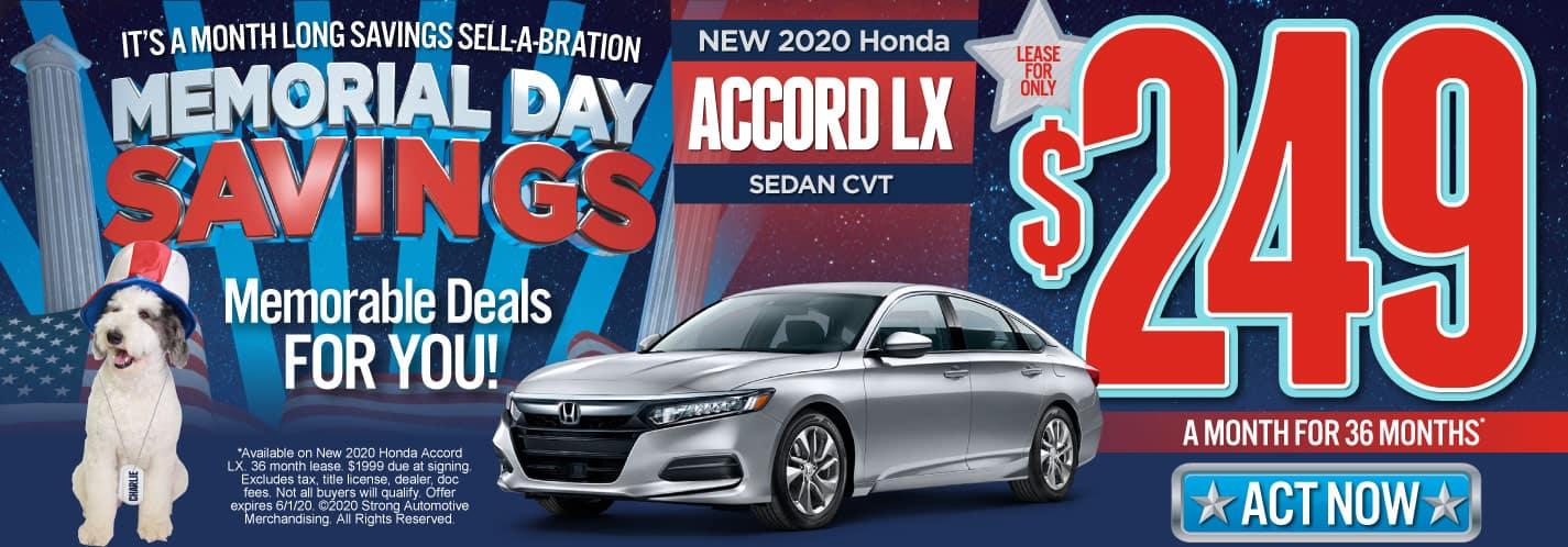 New 2020 Honda Accord LX $249/mo. Act Now.