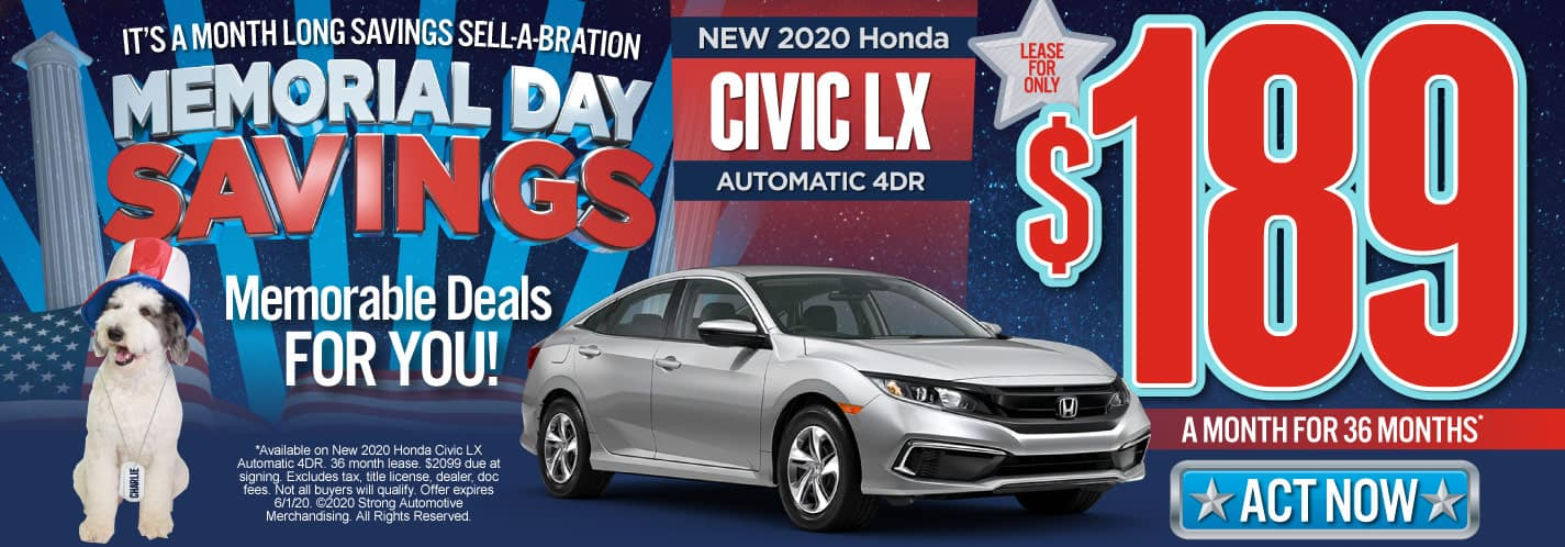 New 2020 Honda Civic LX $189/mo. Act Now.