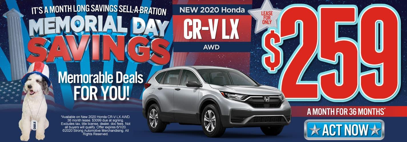 New 2020 Honda CR-V $259/mo. Act Now.