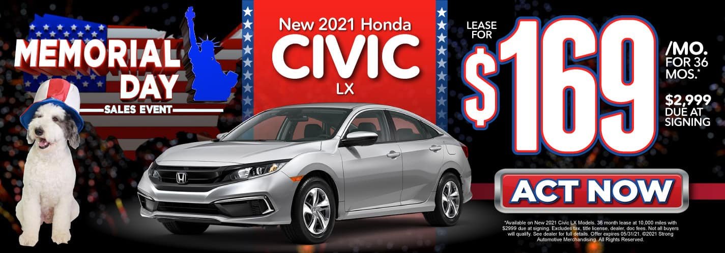 New 2021 Honda Civic | Lease for $169 a month | Act Now