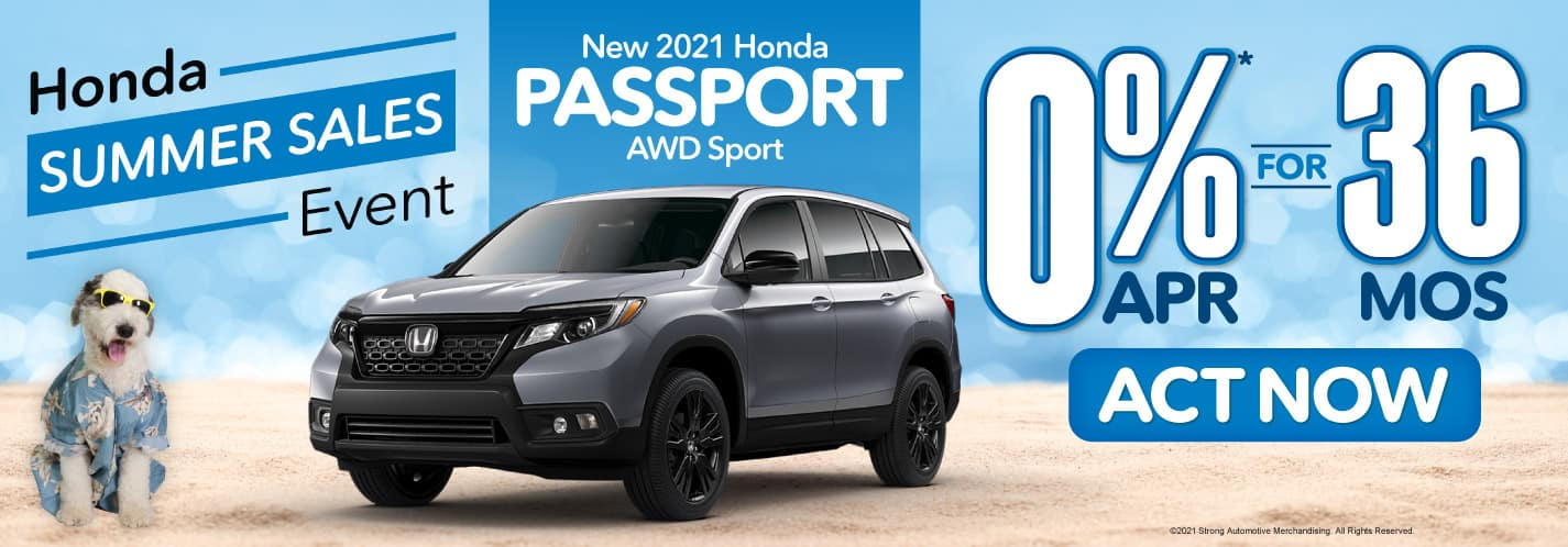 New 2021 Honda Passport 0% APR for 36 Months - Act Now