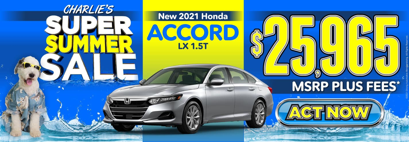 New 2021 Honda Accord - $25,965 MSRP plus fees - Act Now