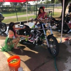 Cowboy Harley Davidson Party With Us Pic Hula Girls Cleaning Bike