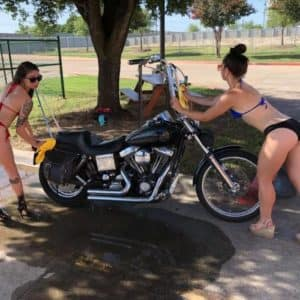 Cowboy Harley Davidson Party With Us Pic Girls Cleaning Bike