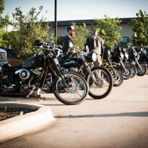 Cowboy Harley Davidson Party With Us Pic Row of Bikes 2