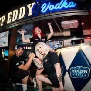 Cowboy Harley Davidson Party With Us Pic Deep Eddy Vodka stand