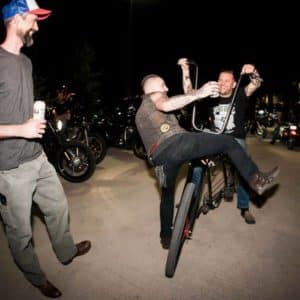 Cowboy Harley Davidson Party With Us Pic Guys messing around on bike