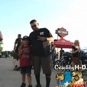 Cowboy Harley Davidson Party With Us Pic Man and child