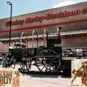 Cowboy Harley Davidson Party With Us Pic Old wagen outside of Cowboy Harley-Davidson of Austin