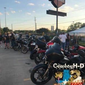 Cowboy Harley Davidson Party With Us Pic Bikes in a row