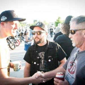 Cowboy Harley Davidson Party With Us Pic Men shaking hands