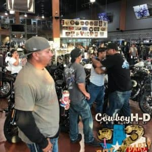Cowboy Harley Davidson Party With Us Pic Inside Crowd
