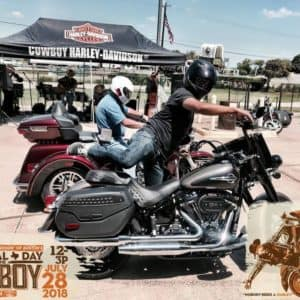 Cowboy Harley Davidson Party With Us Pic Men on Bikes with Helmets