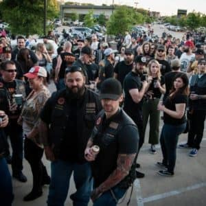 Cowboy Harley Davidson Party With Us Pic Outside Crowd