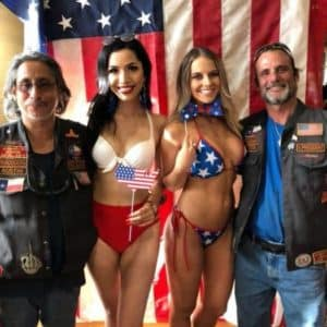 Cowboy Harley Davidson Party With Us Pic Women in Swimsuits with two men next to them
