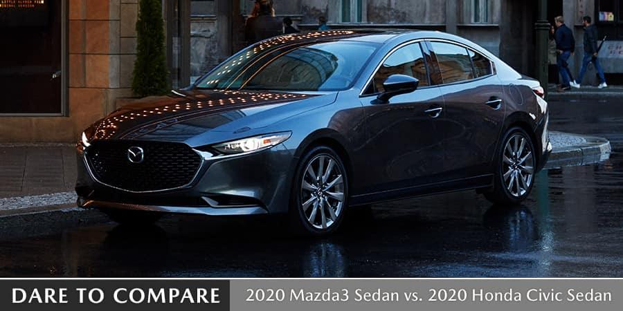 2020 Mazda3 Sedan vs. 2020 Honda Civic Sedan - El Dorado Mazda in McKinney, TX