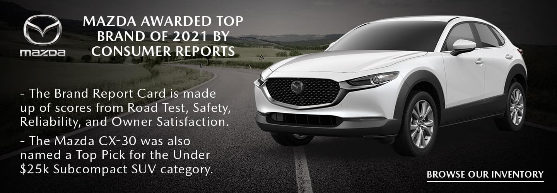 Mazda Awarded Top Brand of 2021 by Consumer Reports - El Dorado Mazda in McKinney, Texas