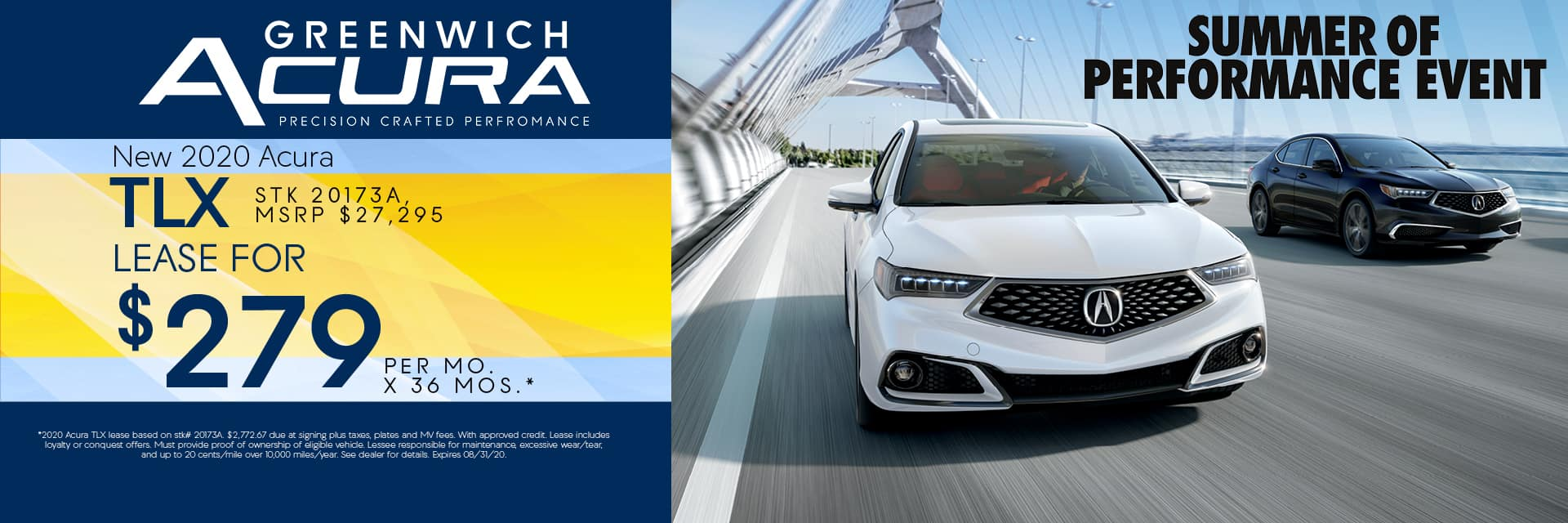 New 2020 Acura TLX Lease for $279 for 36mos. | Greenwich, CT