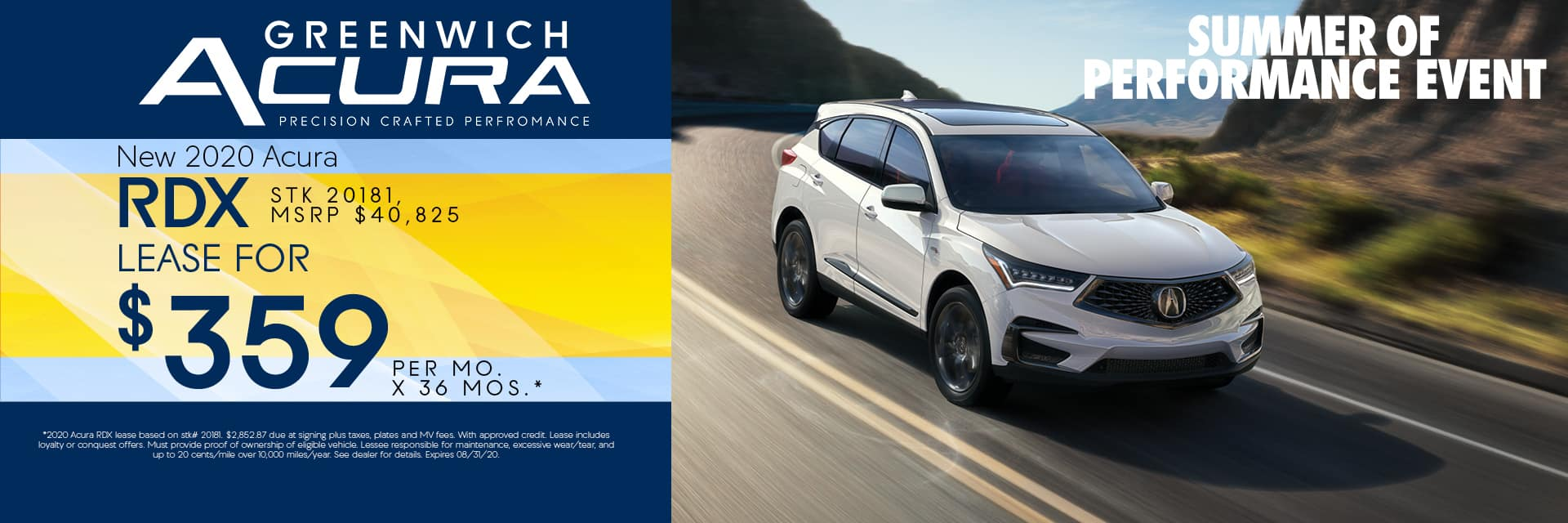 New 2020 Acura RDX Lease for $359 for 36mos. | Greenwich, CT