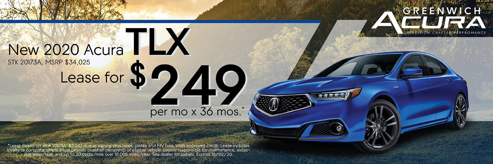 2020 Acura TLX, Lease for $249/Mo. x 36 Mos. | Greenwich, CT