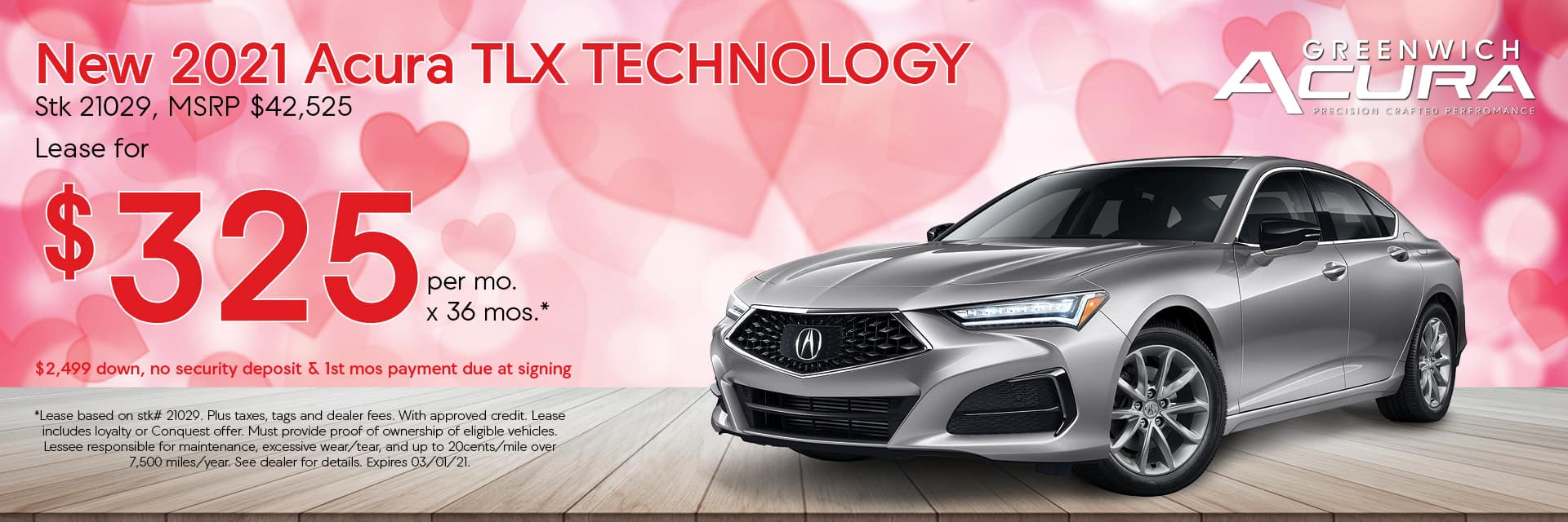 2020 Acura TLX, Lease for $229/Mo. x 36 Mos. | Greenwich, CT