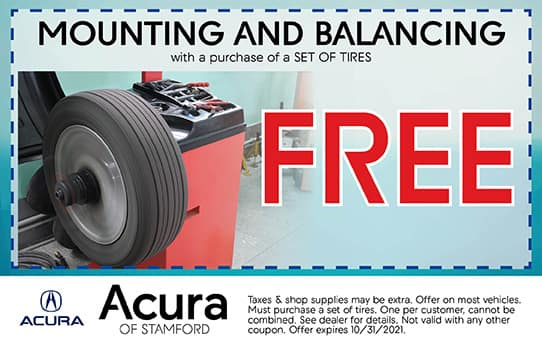 Free Mounting & Balancing Special   Acura of Stamford
