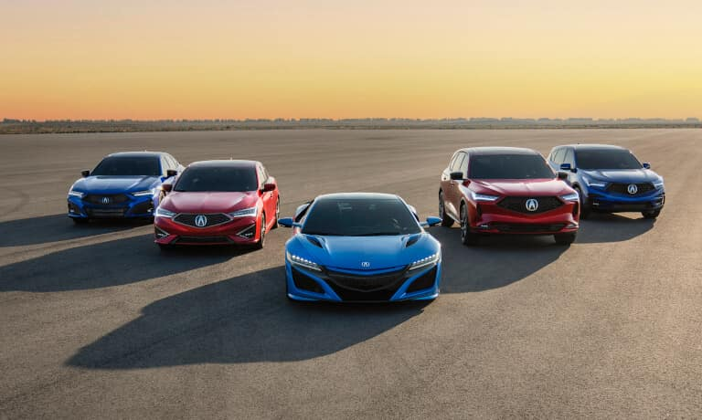 2021 Acura Lineup in front of a sunset
